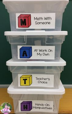Thinking about trying Guided Math? Organization is a critical component for being ready to use Guided Math in your classroom. This post contains ideas for how to organize your Guided Math… Math Classroom, Kindergarten Math, Teaching Math, Math Math, Classroom Ideas, Classroom Resources, Math Center Organization, Classroom Organization, Math Graphic Organizers