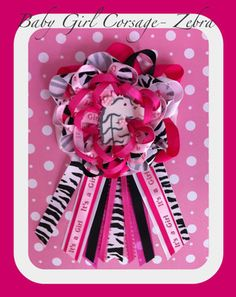 Baby Shower Corsage~It's a Girl~Favors~PINK & ZEBRA~ Cute!