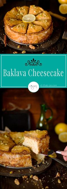 Delicious fusion of baklava and cheesecake is a perfect combination of the two favorite desserts. | allthatsjas.com | #baklava #cheesecake #dessert #fillo #phyllo #ramadan #pastry #cake #recipe