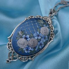 Buy Blue pendant with ribbons embroidered sleepwear . Silk Ribbon Embroidery, Embroidery Patterns, Hand Embroidery, Shabby Chic Hearts, Rose Jewelry, Ribbon Work, Diy Schmuck, Cross Stitch Designs, Sewing Hacks