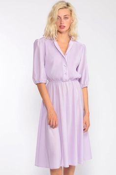 Your place to buy and sell all things handmade Lavender Dress Midi Shirtwaist Puff Sleeve Dress Purple Purple Dress Casual, Purple Long Sleeve Dress, Lavender Dresses, Modest Dresses, Casual Dresses, Dresses With Sleeves, Purple Dress Outfits, 80s Dress