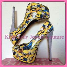 Minion High Heels Size UK 3-8 US 5-10 au 5-10 eu 36-41- Wedding unique minions glitter by KellyJellyJewelsKJJC on Etsy https://www.etsy.com/listing/232325562/minion-high-heels-size-uk-3-8-us-5-10-au