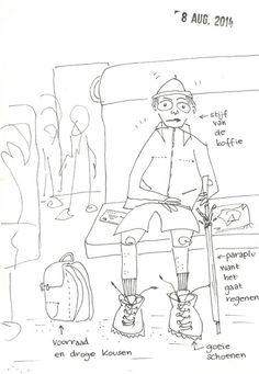 8 augustus. Allemaal wandelaars op mijn trein voor deDodentocht