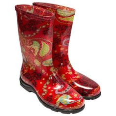 Sloggers - Women's Rain Boots - Paisley Red - Size 6