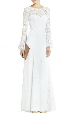 $227.00 No hassle shipping and returns. Receive free shipping and free returns on all bridal and bridesmaid styles.   Exquisite French lace and romantic corset detailing make this gorgeous wedding gown a classic vision in white. Round neck. Long poet sleeves.Built-in corset. Boning detail.Allover French lace.Concealed center back zipper with hook-and-eye closure.Lace: Cotton, Nylon. Charmeuse: Polyester.Dry Clean.Imported.