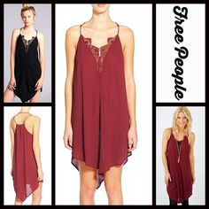 """FREE PEOPLE Lace Slip Dress NEW WITH TAGS RETAIL PRICE: $78  FREE PEOPLE Crepe & Lace Inset Slip Dress   * Romantic lace inset & a lightweight flowy fabric; V-neckline   * Asymmetrical hi-low handkerchief hem   * Back keyhole detail  * About 32-36"""" long  * Vintage like style. Fabric: 100% Rayon & 100% nylon lace;  Cocktail party Color: Pansy Item:  No Trades ✅ Offers Considered*/Bundle Discounts✅  *Please use the 'offer' button to submit an offer. Free People Dresses Midi"""