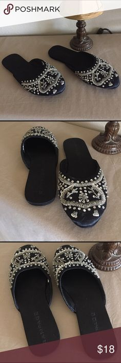 Rampage Satin Beaded Slip-ons These are truly beautiful!! Asian / Orient inspired satin fabric upper with silver sequins and clear beading. Very little wear on soles. No flaws. Since these are slip-ons, they can also fit a 7.5.                                                                         Thank you for looking, and... happy Poshing!! 🛍 Shoes
