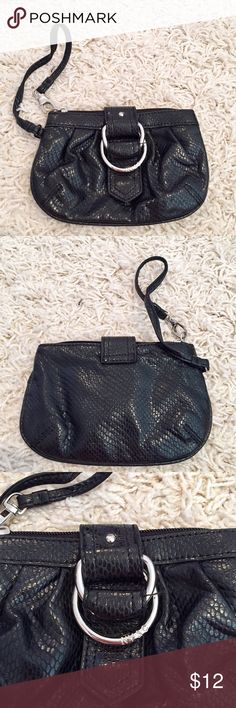 NY&C small black wristlet Shiny black material. Great condition. Small wristlet. Silver hardware. Could fit an iPhone 6 New York & Company Bags Clutches & Wristlets