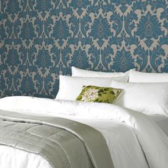 Graham & Brown offers a wide selection of Damask wallpaper and wall coverings for your home. Shop for modern design wallpaper and Damask wall coverings now. Bathroom Wallpaper Teal, Damask Wallpaper, Vinyl Wallpaper, Textured Wallpaper, Designer Wallpaper, Wallpaper Ideas, Wallpaper Roll, Home Bedroom, Master Bedroom