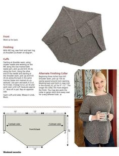 Kimono_Sweater - Ladies, One Piece Knit, Diagram, Free Vintage Knitting Pattern and Instructions.