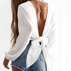 Backless Cross V-neck Bow Tie Blouse Sexy backless top with beautiful bow tie detail and deep cross V-neck Full Sleeve Crop Top, Long Sleeve, Look Fashion, Fashion Outfits, Fashion Blouses, Feminine Fashion, Fashion 2018, Cheap Fashion, Dress Fashion