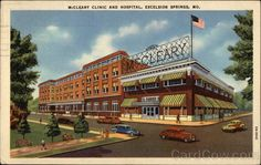 Linen Postcard McCleary Clinic and Hospital Excelsior Springs, MO Excelsior Springs, Vintage Postcards, Historical Photos, Family History, Old Photos, Missouri, Clinic, Poster Size Prints, Photo Mugs