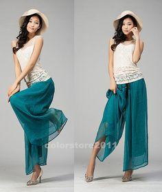 pavo real de las mujeres verdes / gasa negro pantalones anchos de la pierna de pantalón largo vestido maxi falda kz02