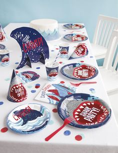 Serve up slices of cake and scoops of cold ice cream for your guests on these adorable shark fin party plates! Chomp, Chomp! • Quantity: Set of 8 Plates • Size: Cake, 7 Diameter • Material: Paper Plates We carry a full line of coordinating shark party supplies! Check out our photos, and