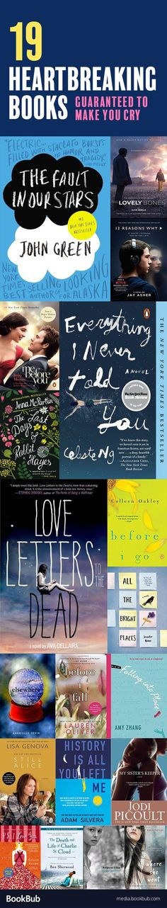 19 Heartbreaking Books to Read If You Love 'If I Stay' 19 books worth reading that are sure to make you cry. These heartbreaking and emotional stories include books for women and books for teens. Ya Books, I Love Books, Book Club Books, Good Books, Free Books, Book Suggestions, Book Recommendations, Reading Lists, Book Lists