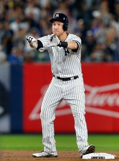 October 9, 2017:   ALDS Game 4: Indians at Yankees  -  Todd Frazier of the New York Yankees reacts after his second-inning RBI double against the Cleveland Indians during Game 4 of the American League Division Series at Yankee Stadium on Monday, Oct. 9, 2017.