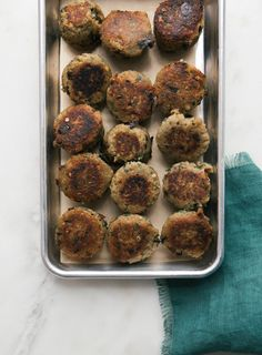 Eggplant meatballs (olive oil, 1 eggplant, garlic, onion, herbs, 3/4 c breadcrumbs, 1/4 c Parmesan cheese, 1 egg)
