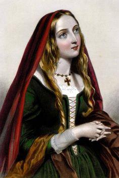 An imagined portrait of Queen Elizabeth, Elizabeth Woodville, married to King Edward IV of England, and mother of Elizabeth of York, married to Henry VII.