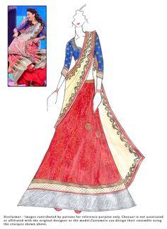 #DIY #MadhuriDixit #Red #Brocade #Lehenga Choli