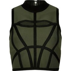 River Island Khaki bandage crop top (840 ARS) ❤ liked on Polyvore featuring tops, crop top, crop, river island, high neck crop top, cut out top and green top