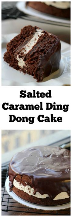 Salted Caramel Ding-Dong Cake The ultra smooth caramel chocolate ganache, fluffy whipped cream filling, and rich chocolate cake make this a dessert to write home about. Brownie Desserts, Oreo Dessert, Mini Desserts, Chocolate Desserts, Just Desserts, Health Desserts, Sweet Recipes, Cake Recipes, Dessert Recipes