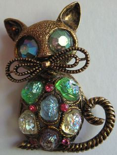 HOLLYCRAFT-VINTAGE-RHINESTONE-MOON-ROCK-GLASS-DIMENSIONAL-CAT-PIN