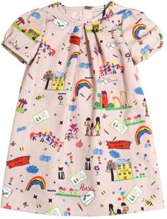 Drawings Printed Cotton Flannel Dress