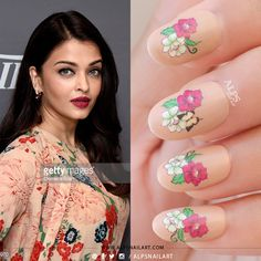 HPB Presents – Floral nails design inspired by Bollywood Actress Aishwarya Rai's floral dress at Cannes 2015 by Actress Aishwarya Rai, Bollywood Actress, Celebrity Nails, Finger Nail Art, Different Nail Designs, Floral Nail Art, Manicure And Pedicure, Nail Artist, Nails Design