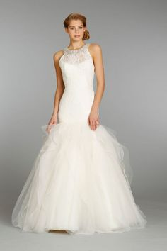 Jim Hjelm wedding dress fall 2013 bridal - illusion neckline, mermaid
