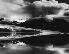 Brett Weston | Glacier Feeding into Calm Reflective Lake | Discover and Shop Museum Art Prints | 1000Museums