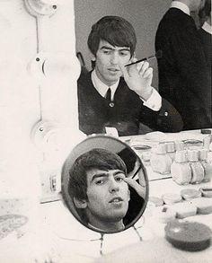 George Harrison backstage. English Tour, 1963 (via Beatles Archive on Twitter)