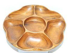 Vintage 1960s Genuine Monkey Pod Wood LAZY SUSAN Wooden Server Dining rare RETRO