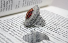 Literary Jewels by Jeremy May Paper Jewelry, Paper Beads, Jewelry Art, Jewelry Design, Recycled Jewelry, Handmade Jewelry, Unique Jewelry, Beaded Rings, Beaded Jewelry