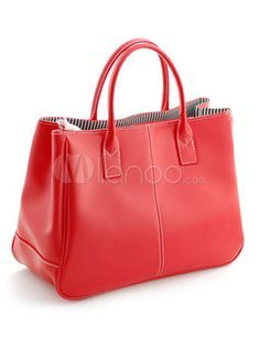 Chic Red Horizontal Shape PU Leather Women's Tote Bag