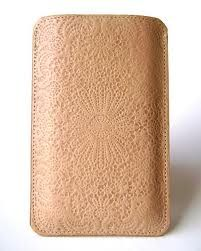 Lace embossed leather i-phone case