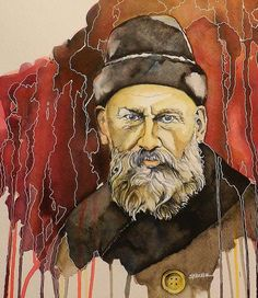 "Watercolor, ""Tolstoy,"" by Scott Parker, Fine Art America. Favorite Pastime, Great Artists, Fine Art America, Book Art, Lion Sculpture, Greeting Cards, War, Watercolor, Wall Art"