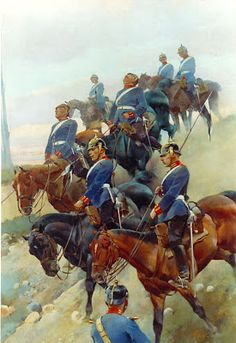 Russian cossaacks charging into Japanese artillery, Russo-Japanese War Military Art, Military History, German Uniforms, Military Uniforms, German Confederation, Stoner Art, French Empire, World History, 19th Century