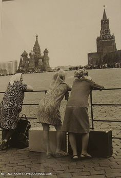Red square, 1960. Though this is before I was born, I remember those dresses and stocky figures, could have been my gran and auntie visiting Moscow.