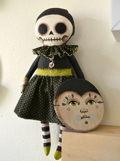 Cart Before The Horse: Skeletons with People Masks Halloween Crafts, Halloween Decorations, Clown Mask, Monster Dolls, Creepy Dolls, Doll Crafts, Soft Sculpture, Fabric Dolls, Art Dolls