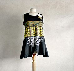 Upcycled Tank Tunic Women's Black Shirt by BrokenGhostClothing,