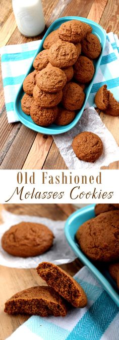 Old-Fashioned Molasses Cookies (old fashioned sugar cookie recipes) Mini Desserts, Cookie Desserts, Easy Desserts, Delicious Desserts, Dessert Recipes, Yummy Food, Baking Cookies, Bar Recipes, Candy Recipes