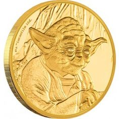 2016 Star Wars Yoda 1/4oz Gold Proof Coin. In the days of the Old Republic, Jedi Master Yoda was the most wise and powerful of all Jedi. Diminutive and unassuming, Yoda had no equals in his keen insight into the Force, or in his agile skill with a lightsaber. For over 800 years, Yoda instructed young Jedi and instilled them a profound sense of discipline, strength, and unity. The New Zealand Mint will release no more than 1,000 of the 2016 Star Wars Yoda 1/4oz Gold Proof Coin.