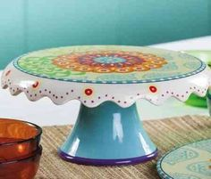 Hand painted Floral Ceramic Cake Stand