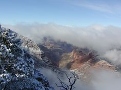 My favorite Grand Canyon shot taken as a winter cloud inversion was dissipating. (2001) [OC] [1600x1200].