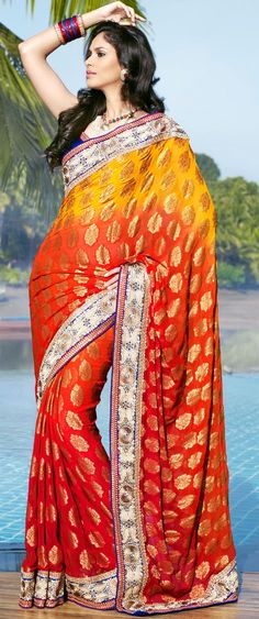 Fancy Orange and Gold Color Embroidered Saree With Blouse-IG5416 at IndianGarb