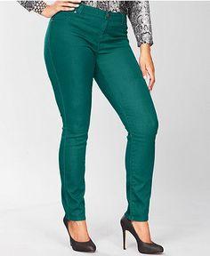 Love these! INC International Concepts Plus Size Jeans, Skinny Colored Denim - Plus Size Jeans - Plus Sizes - Macy's