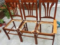 How To Make a Bench from Old Chairs - Drill holes in the marked locations