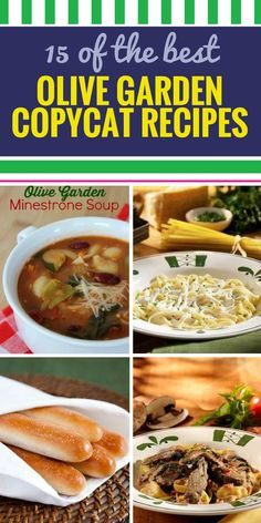 115 Copycat Olive Garden Recipes. Olive Garden is known for its soup and salad, and for good reason. Get the best copycat Olive Garden recipes here, including healthy chicken entrees, pasta and vegetarian options - make a lot because you'll want the refills to be endless just like they are at Olive Garden.
