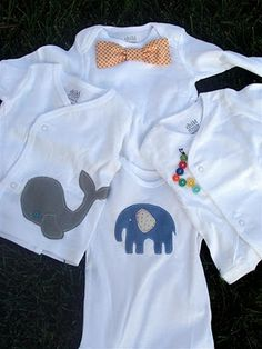 Baby Shower Gifts: Embellished Onesies I love the bowtie one! Onesies, Do It Yourself Baby, Easy Baby Blanket, Couture Sewing, Baby Crafts, Kid Crafts, Baby Sewing, Baby Boy Outfits, Diy Clothes