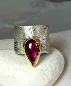 Pink Tourmaline RingSolitaire Ring Solitaire Ring chunky